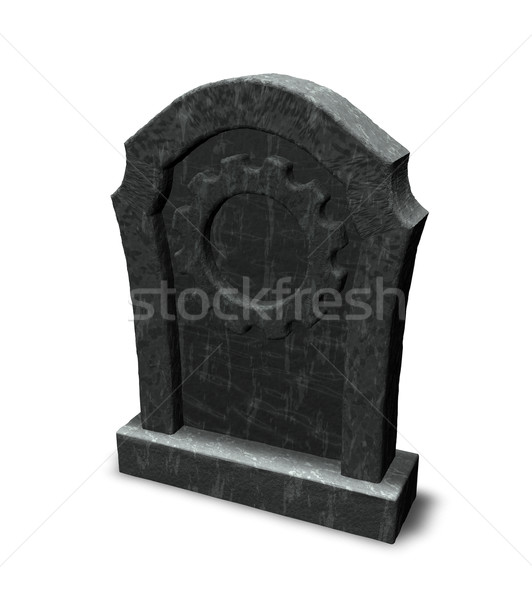 Gravestone with gear wheel - 3d illustration Stock photo © drizzd