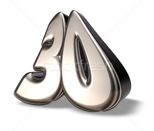 числа тридцать металл белый 3d иллюстрации летию Сток-фото © drizzd