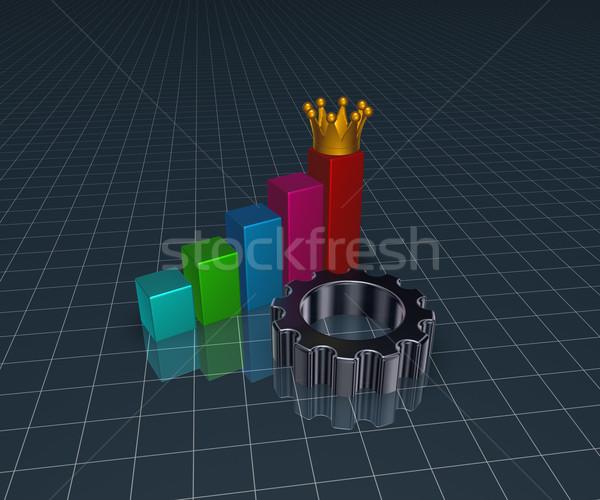 üzleti grafikon fogaskerék viselet kerék korona 3d illusztráció Stock fotó © drizzd