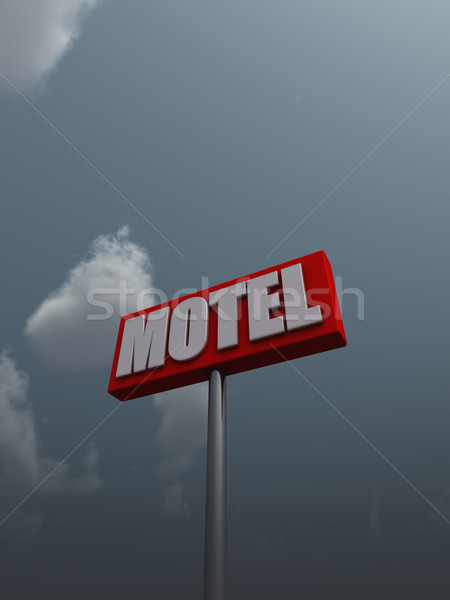 мотель знак облачный небе 3d иллюстрации дороги Сток-фото © drizzd