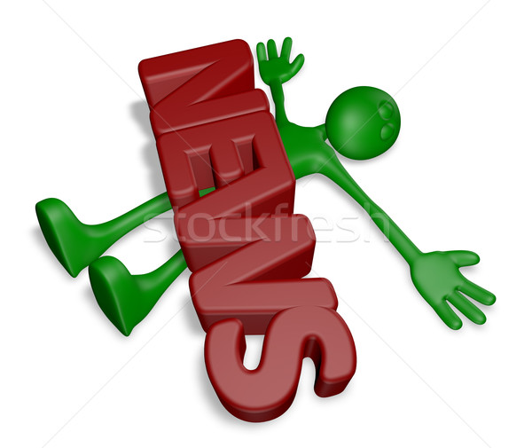 Плохие новости мертвых Cartoon парень слово Новости Сток-фото © drizzd