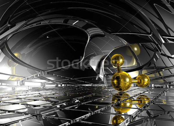 Futuristische ruimte 3d illustration model netwerk geneeskunde Stockfoto © drizzd