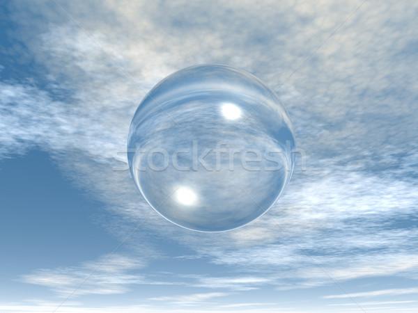 Buborék szappanbuborék égbolt 3d illusztráció fény üveg Stock fotó © drizzd