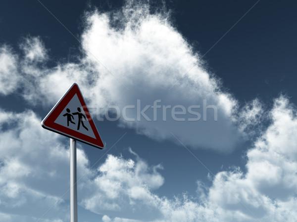 attention children roadsign Stock photo © drizzd