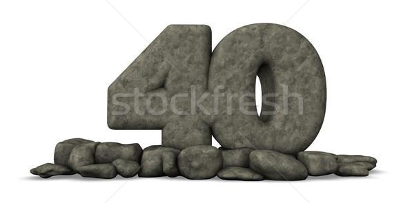 Kamień numer czterdzieści biały 3D Zdjęcia stock © drizzd