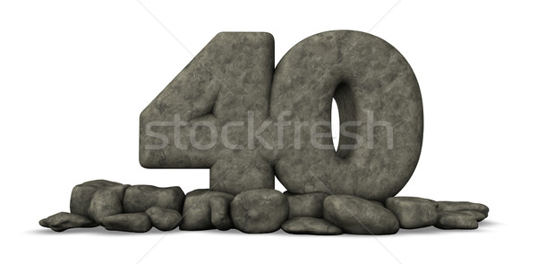 Taş numara kırk beyaz 3D Stok fotoğraf © drizzd