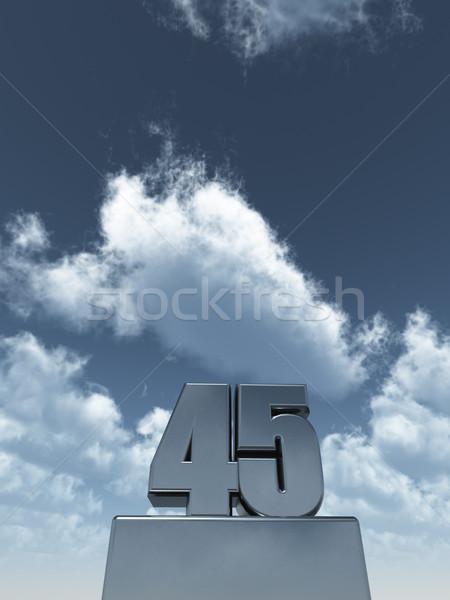 Kırk beş Metal bulutlu mavi gökyüzü 3d illustration Stok fotoğraf © drizzd