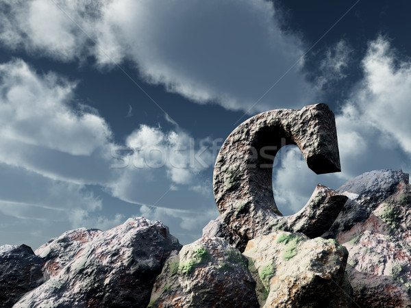 letter c rock under blue sky - 3d illustration Stock photo © drizzd