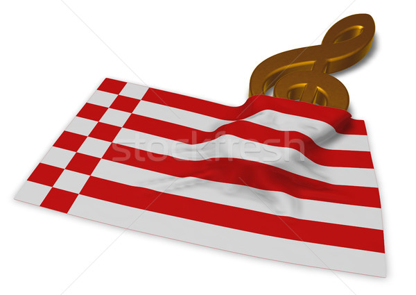 clef symbol and flag of bremen - 3d rendering Stock photo © drizzd