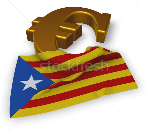 euro symbol and flag of catalonia - 3d illustration Stock photo © drizzd