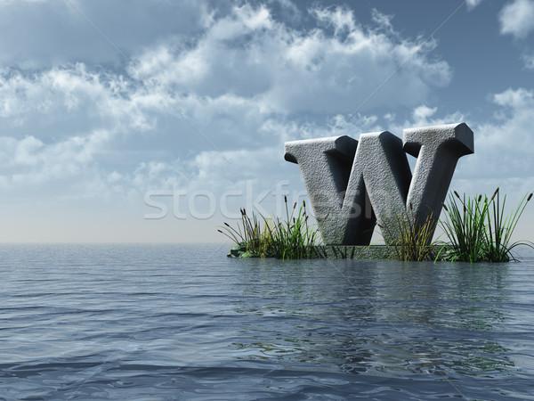 List w wody krajobraz 3d ilustracji chmury charakter Zdjęcia stock © drizzd