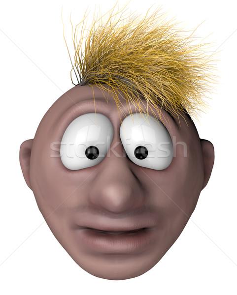 Zastanawiać się oniemiały cartoon człowiek chaotyczny włosy Zdjęcia stock © drizzd