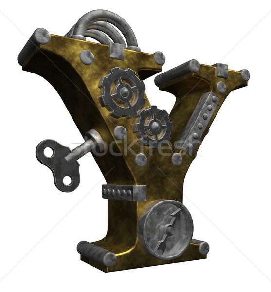 Steampunk mektup beyaz 3d illustration saat sanat Stok fotoğraf © drizzd