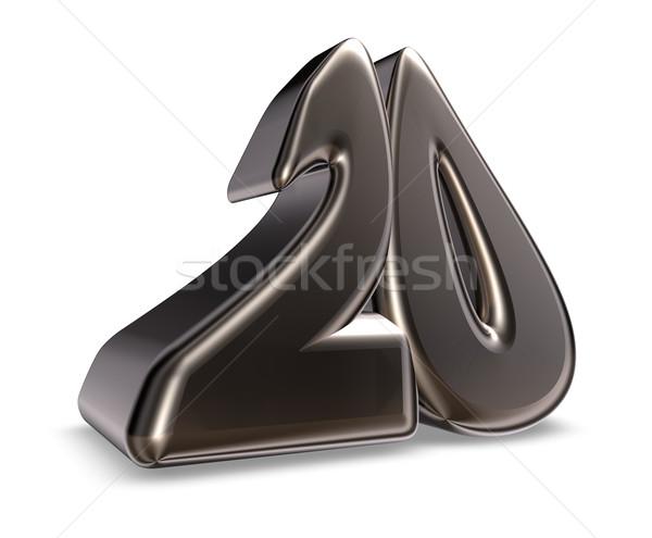 Número vinte metal branco ilustração 3d aniversário Foto stock © drizzd