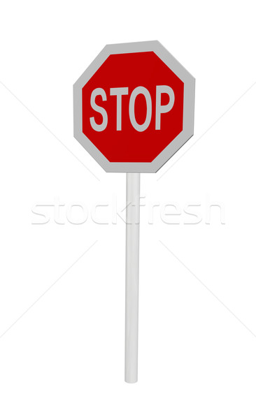 остановки знак остановки белый 3d иллюстрации улице знак Сток-фото © drizzd