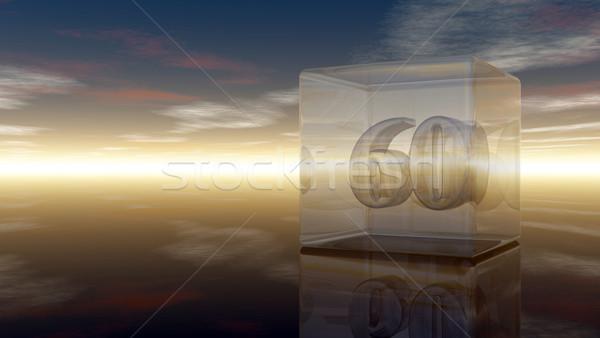 числа шестьдесят стекла куб облачный небе Сток-фото © drizzd