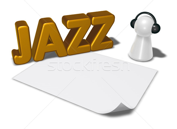 Jazz tag pion hoofdtelefoon 3d illustration Stockfoto © drizzd