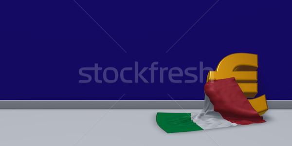 Euros symbole drapeau italien 3d illustration Finance marché Photo stock © drizzd