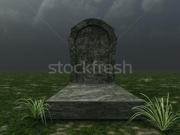Grave nublado céu ilustração 3d morte paz Foto stock © drizzd