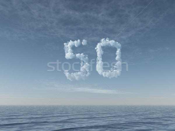 cloudy number fifty over water Stock photo © drizzd
