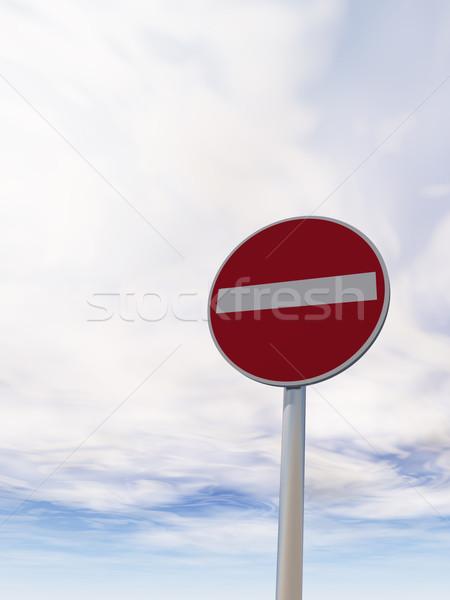 Nem belépés útjelzés felhős kék ég 3d illusztráció Stock fotó © drizzd