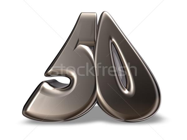 Número cinqüenta metal branco ilustração 3d aniversário Foto stock © drizzd