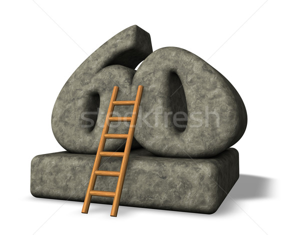 Aantal zestig ladder steen 3d illustration klim Stockfoto © drizzd