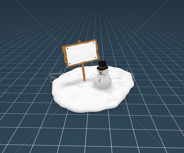 Stockfoto: Sneeuwpop · grappig · weinig · sneeuw