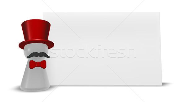 ストックフォト: 赤 · 弓 · 3次元の図 · パーティ · 楽しい · マスク