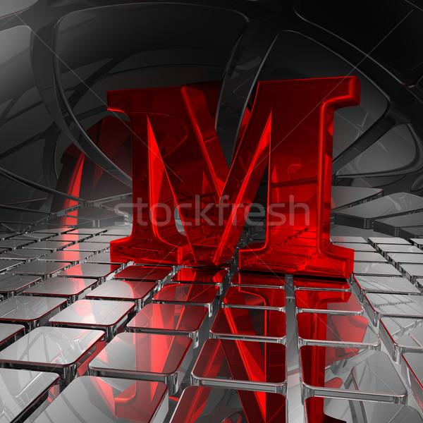 Futurista espaço vermelho letra m ilustração 3d metal Foto stock © drizzd