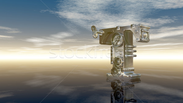 machine letter t under cloudy sky - 3d illustration Stock photo © drizzd
