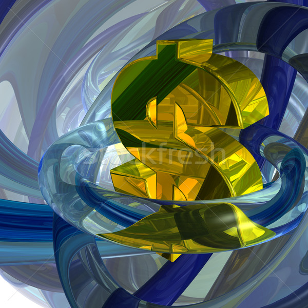 Dollar abstrakten futuristisch Symbol 3D-Darstellung Licht Stock foto © drizzd