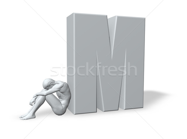 sitting man leans on uppercase letter m Stock photo © drizzd