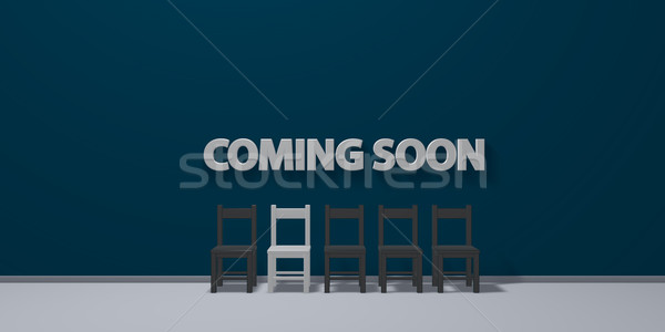 the words coming soon on wound and row of chairs - 3d rendering Stock photo © drizzd