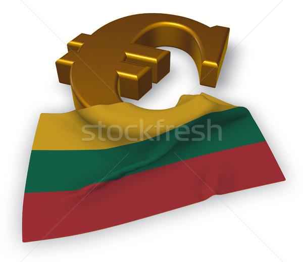 Euro símbolo bandeira Lituânia ilustração 3d financiar Foto stock © drizzd