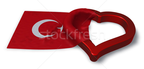 flag of turkey and heart symbol - 3d rendering Stock photo © drizzd