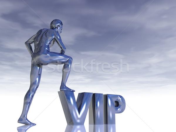 Vip escultura hombre cartas 3d persona Foto stock © drizzd