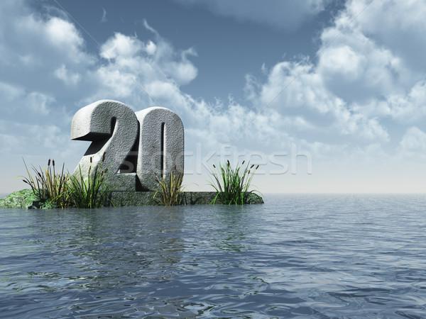 двадцать числа океана 3d иллюстрации вечеринка пейзаж Сток-фото © drizzd