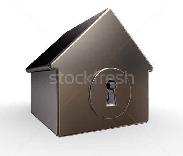 Sleutelgat huis model 3d illustration gebouw home Stockfoto © drizzd