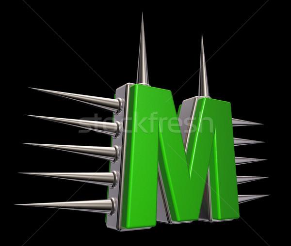 Mektup m Metal siyah 3d illustration okul sanat Stok fotoğraf © drizzd