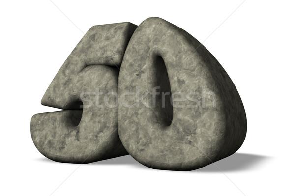 Szám ötven kő fehér 3d illusztráció évforduló Stock fotó © drizzd