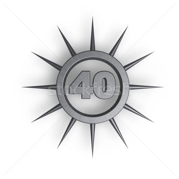 Numer czterdzieści pierścień wewnątrz 3d ilustracji urodziny Zdjęcia stock © drizzd