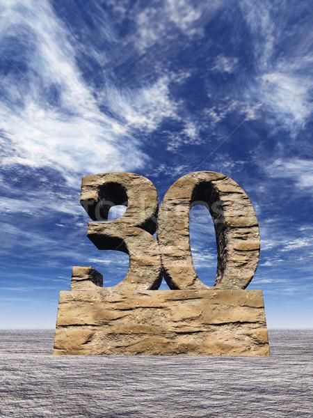 Numero trenta pietra nuvoloso cielo blu illustrazione 3d Foto d'archivio © drizzd