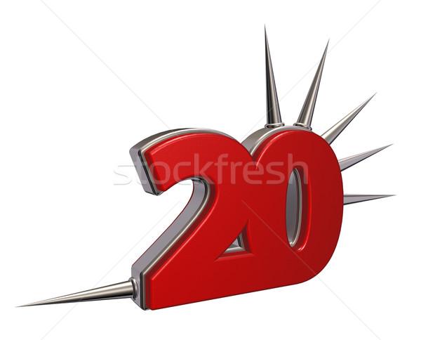 Número vinte branco ilustração 3d metal estilo Foto stock © drizzd