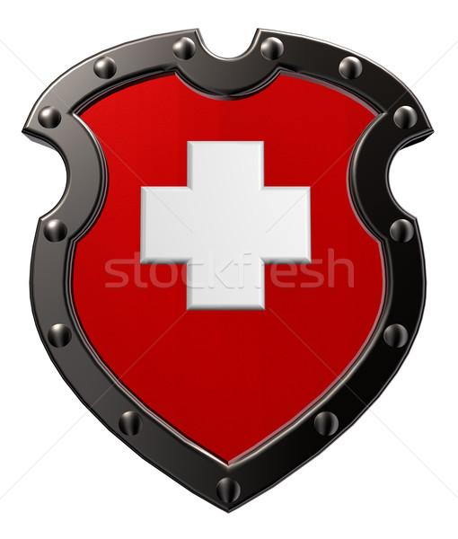 İsviçre Metal kalkan bayrak 3d illustration imzalamak Stok fotoğraf © drizzd
