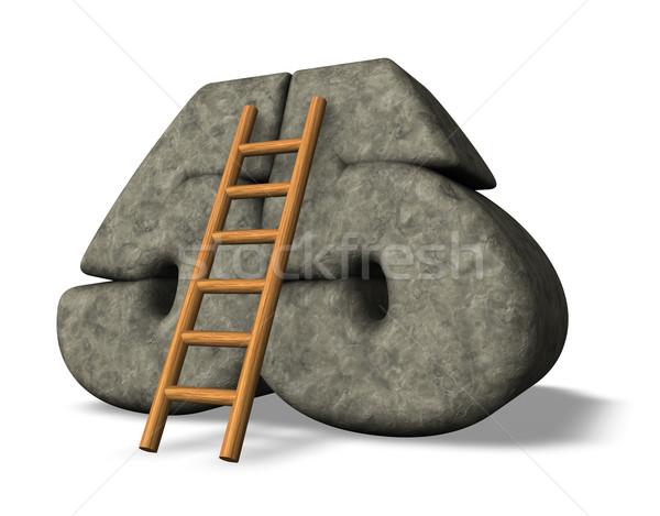 Сток-фото: каменные · числа · лестнице · 3d · иллюстрации · глазах · подняться