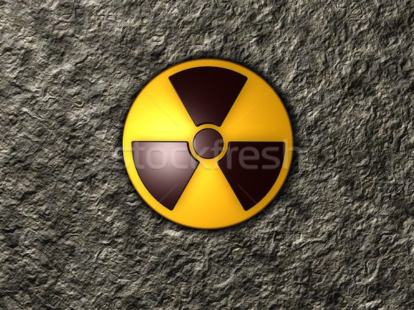 Nucleaire symbool steen 3d illustration muur technologie Stockfoto © drizzd