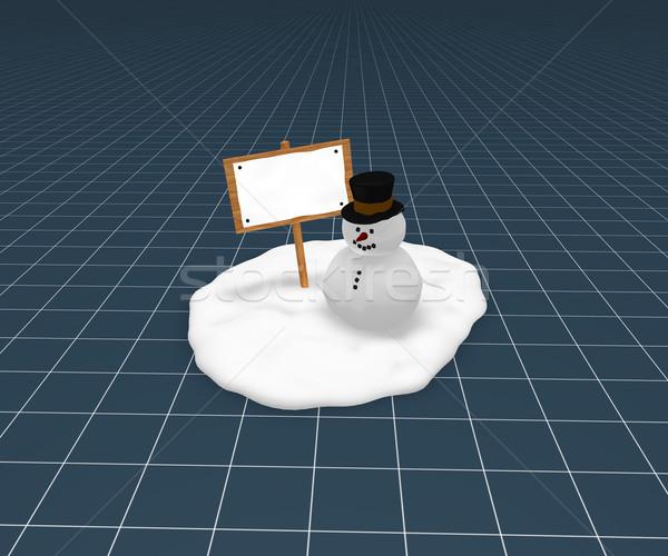 Hóember üres tábla vicces fa tábla kicsi hó Stock fotó © drizzd