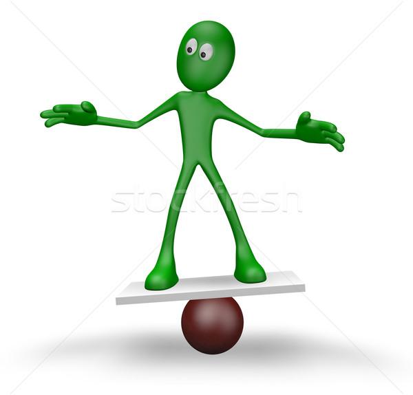 баланса Cartoon парень сфере 3d иллюстрации Сток-фото © drizzd