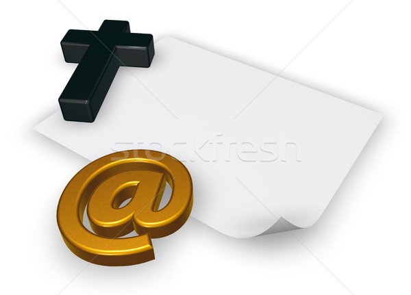 christian cross and email symbol - 3d rendering Stock photo © drizzd